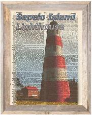 Sapelo Island Georgia Lighthouse Altered Art Print Upcycled Vintage Dictionary