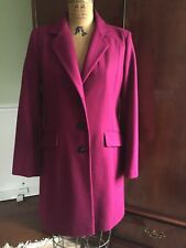 DKNY COAT FULLY LINED BUTTON DOWN WOOL BLEND SIZE  8 MAGENTA  EUC!