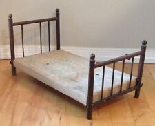 "Antique Wooden Four Poster Doll Bed Early 1900s 22"" Long x 12"" Wide x 12"" Tall"