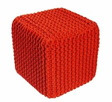 EHC Braided Hand Knitted 100% Cotton Pouffe Cubical Cushion,Tango Red