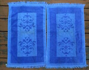 2 VTG Hand Bath Towels Fieldcrest Imperial Brocade Purple USA
