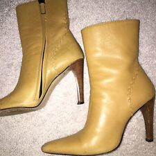 GUCCI ANKLE LEATHER BOOTS SZ 5.5 CAMEL ( Dust Cover Included)