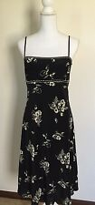 Maggy London Silk Black W/ Cream Floral Size 12 Spaghetti Straps Beautiful