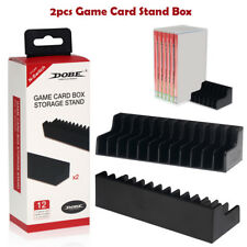 2x 12 Game Card Slot Box Storage Stand CD Disk Holder For Nintendo Switch Black