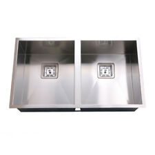 760*450*200mm Sink 2 Bowl Stainless Steel Square Edge for Kitchen Laundry