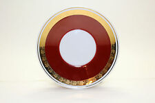 Hollohaza Hungary 4834 Replacement Saucer Gold Rim Copper Red White