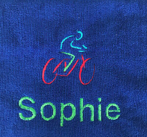 CYCLING SPORTS TOWEL -PERSONALISED -FLANNEL / HAND TOWEL  BIKE