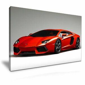 "Lamborghini Red Super Car  PICTURE CANVAS WALL ART 20""X30"""