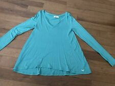 Womens Hollister Notch-Front Ribbed Long Sleeve Top Shirt Size Small Turquoise
