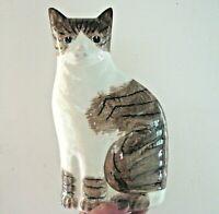 "NS Gustin Ceramic Cat Figurine Doorstop Vintage 1980s Brown Striped 10.5"" Tall"