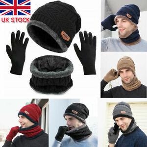 3pcs Mens Women Beanie Hat And Neck Scarf Knitted Gloves Set Winter Warm Fleece