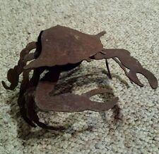 Primitive Metal Crab Artisan Crafted Rustic Sculpture Beach Aquatic Ocean Life