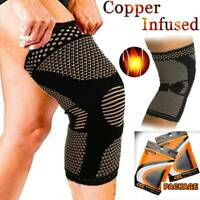 Copper Knee Support Compression Sleeve Brace Sports Joint Muscle Pain Relief OBS