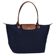 Authentic Longchamp Navy Medium Le Pliage Tote 1899 Long Handle Nylon Handbag