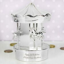 PERSONALISED SILVER BABY CHRISTENING GIFT 1st BIRTHDAY GIFT CAROUSEL MONEY BANK