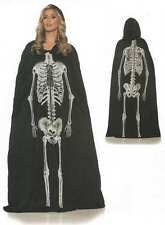 ADULT SKELETON SKULL COSTUME HOODED CAPE CLOAK ROBE DAY OF THE DEAD BLACK LONG
