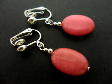A PAIR OF SIMPLE PINK JADE SILVER PLATED DROP CLIP ON EARRINGS. NEW.