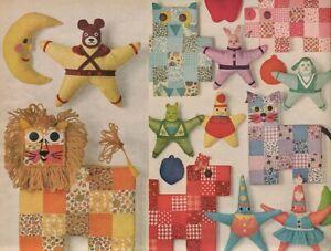 1960s Vintage Gingham Patchwork Stuffed Animal Toy Beanbag Orig Sewing Pattern