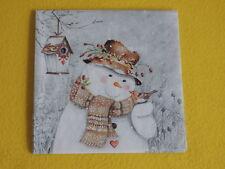 5 Servietten Schneemann Rotkehlchen Serviettentechnik Weihnachten 1/4 Winter