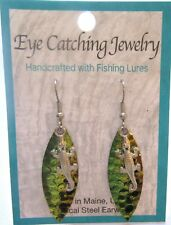 Fashion Earrings -Made with Fishing Lures-gecko charms - green gold black
