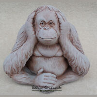 WISE MONKEY Hear No Evil Hand Cast Stone Detailed Garden Ornament ⧫onefold-uk