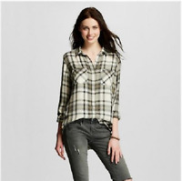 Mossimo Women's Drapey Boyfriend Plaid Shirt - Olive - Large