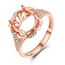 Oval 11x9mm Semi Mount Solid 14K Rose Gold SI/H Diamond Luxurious Flowers Ring