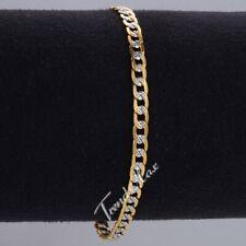 4mm Unisex Women Men Curb Cuban Chain Silver Gold Filled Bracelet 8inch Gift