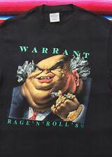 VTG WARRANT Rage N Roll 1989 tour 50/50 tee t shirt M 80s rock band USA 80s rare