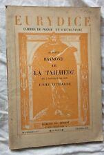 RAYMOND DE LA TAILHÈDE 1937 Eurydice cahiers de poésie Maurras Action Française