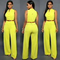 Women Lady Office Solid Romper Playsuit Bodycon Party Jumpsuit Trousers Fashion