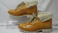 CAT Footwear 'Hub Fur' Honey Patent Leather Fur Cuff Ankle Boot Women Size 5.5 M