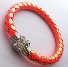 New Deep Pink/Gold leather wrap Bangle/Bracelet magnetic clasp.+gift bag z