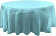 LA Linen Sheer Mirror Organza Round Tablecloth 132-Inch, Turquoise