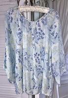 NEW Plus Size 2X Blue Peasant Blouse Floral Lace Shirt Top $52
