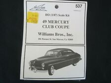 Williams Bros Inc 1949 Mercury Club Coupe Sedan HO Scale Model Kit 537 Gangster