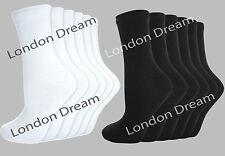 6 Pairs Mens Boys Ladies Girls Unisex Kids Cotton Ankle School Socks White Black