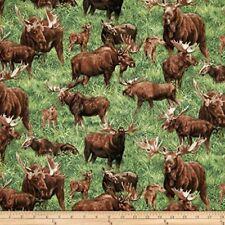 Animal Fabric - American Wildlife Moose Allover Scene Green - Fabri-Quilt YARD