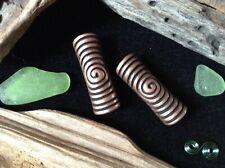 2 x Tall Copper Dreadlock Beads 5mm Hole Celtic Spiral Maze Pattern Stunning UK
