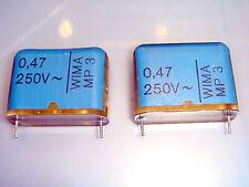 2 PIECES WIMA MP3 0.47uF 250V AC METALLISED PAPER CAPACITOR