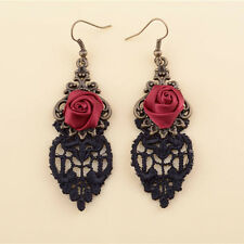 New Handmade Lolita Red Flower Rose Black Drop Lace Dangle Earrings Gothic Alloy