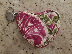 Vera Bradley Julep Tulip Sweetheart Coin Purse Pink and Green Heart Shape; EUC