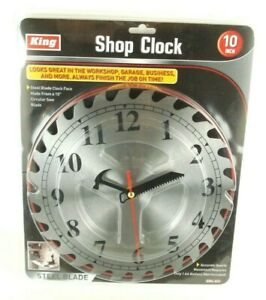 "10"" Circular SAW BLADE Workshop Decorative WALL CLOCK Garage Mens Tool Cave"