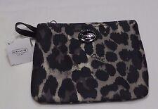 Coach Park Black/ Brown Ocelot Animal Print Wristlet Wallet NWT $118