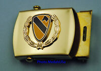 1st Cavalry Wreath Army black Web Belt &  brass buckle - Cav Division USA 1