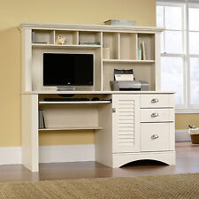 New Sauder Harbor View Computer Office Desk with Hutch Antiqued White Finish
