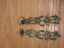 ethnic earrings Jade Amethyst Pearl Garnet Early 1900's Long all original
