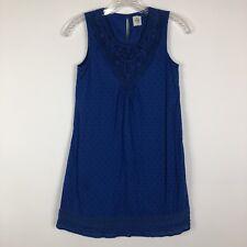 Mini Boden Girls kids 11/12 Royal Blue Eyelet Crochet Top Dress Boho