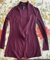 White House Black Market Burgundy Long Sleeve Cardigan Sweater Size XS