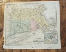 Antique Hand Colored MAP - MASS. RHODE ISL & CONN / Common School Geography 1873